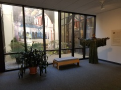 Lobby of the visitors center at Abbey of Gethsemani